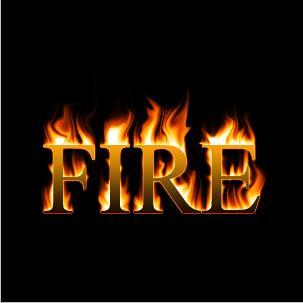 Efek text dengan kobaran api di photosop